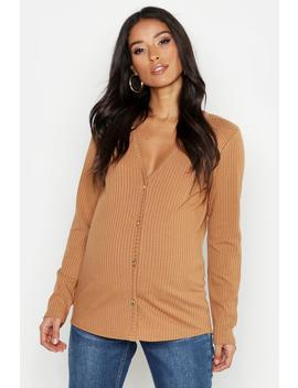 Maternity V Neck Button Front Jumper by Boohoo