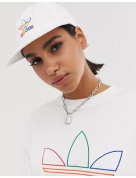 Adidas Originals Pride White Cap With Rainbow Trefoil Logo by Adidas