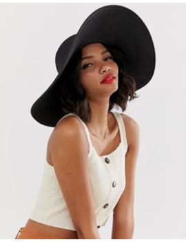 Warehouse Wide Brim Straw Hat In Black by Warehouse