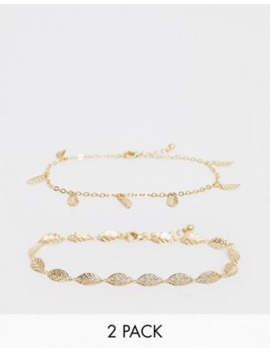 Asos Design Pack Of 2 Anklets With Feather Pendants In Gold Tone by Asos Design