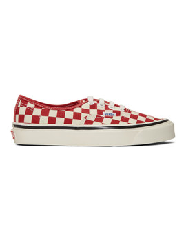 White & Red Check Authentic 44 Dx Sneakers by Vans