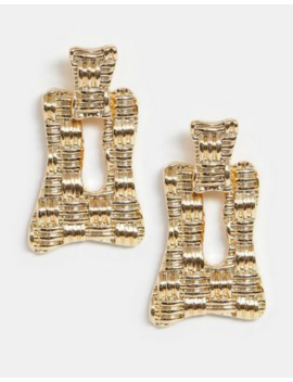 Asos Design Earrings In Woven Metal Abstract Square Design In Gold Tone by Asos Design