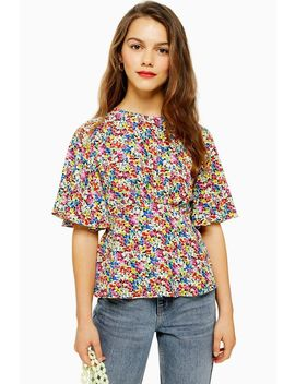 Petite Austin Floral Print Angel Sleeve Blouse by Topshop