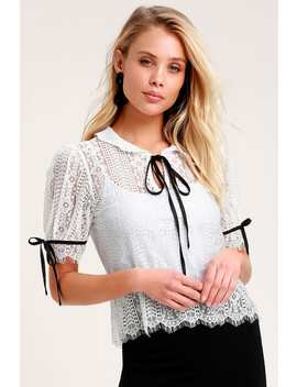 Imagine White Sheer Lace Short Sleeve Top by Lulus