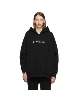 Black Oversized 'givenchy Paris' Vintage Hoodie by Givenchy