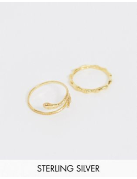 Asos Design Sterling Silver With Gold Plate Pack Of 2 Rings With Bamboo And Snake Design by Asos Design