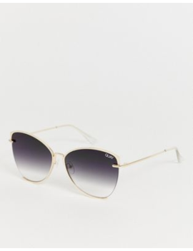 Quay Australia Dusk To Dawn Oversized Cat Eye Sunglasses In Gold by Quay Eyeware