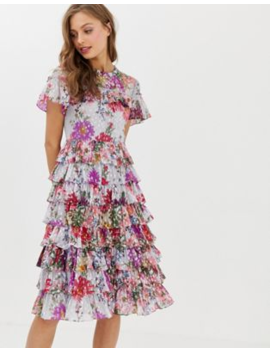 Needle &Amp;Amp; Thread Ruffle Midi Dress In Allover Floral Print by Needle &Amp; Thread