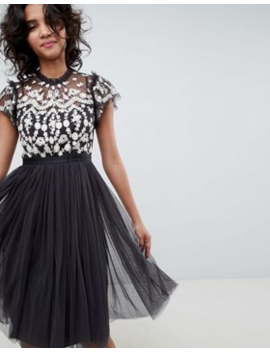 Needle &Amp;Amp; Thread Embroidered Bodice Tulle Midi Dress In Graphite by Needle &Amp; Thread