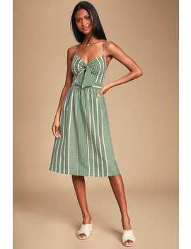 World Wonder Green Striped Tie Front Midi Dress by Lush