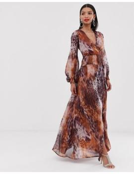 Asos Design Maxi Dress With Smocking Detail In Mixed Animal Print by Asos Design