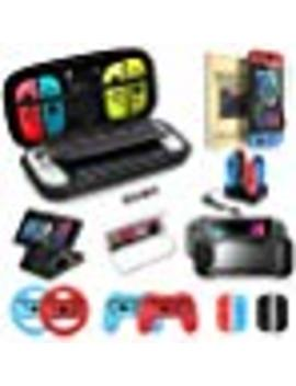 Switch Accessories Bundle, Kit With Carrying Case, Protective Case With Screen Protector, Compact Playstand, Switch Game Case, Joystick Cap, Charging Dock, Grip And Steering Wheel For Nintendo Switch by By    Mascarry