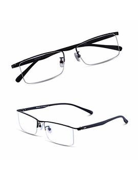 Bruwen Glasses Frames For Men Women, Half Frame Business Glasses Prescription Rx Glasses With Clear Lens, Hard Case Included. by Bruwen