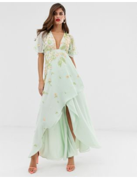 Asos Design Dipped Hem Maxi Dress With 3 D Embellishment And Ruffle Sleeve by Asos Design