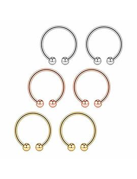 """Briana Williams 316 L Surgical Steel Non Piercing Fake Faux Clip On Septum Nose Hoop Ring Body Jewelry Piercing Unisex 20 Gauge 5/16""""(8mm) 2 6 Pcs by Briana Williams"""