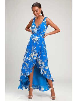 Sun Salutation Royal Blue Floral Print Ruffled Wrap Maxi Dress by Lulus