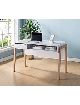 151400 Smart Home White & Weathered White Laptop Computer Writing Desk by Smart Home