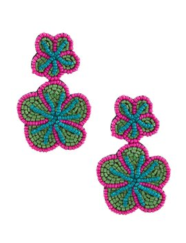 Beaded Flower Statement Earrings by Anna &Amp; Ava