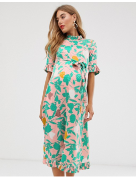 Asos Design Maternity Midi Jacquard Floral Column Dress With Belt by Asos Design