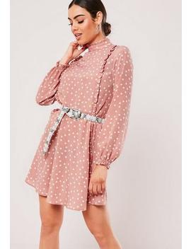 Coral High Neck Ditsy Polka Dot Tea Dress by Missguided