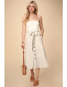 Daydreamer Beige Button Front Belted Midi Skirt by Lulus