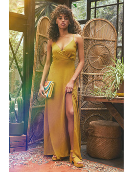 Evening Of Splendor Mustard Yellow Surplice Maxi Dress by Lulus