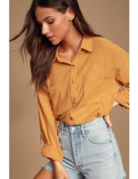 Tabbatha Mustard Yellow Long Sleeve Button Up Top by Lulus
