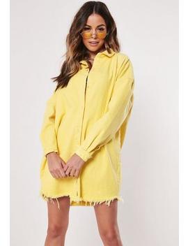 Yellow Denim Super Oversized Shirt Dress by Missguided