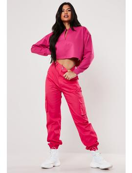 Fuchsia Plain Cargo Trousers by Missguided