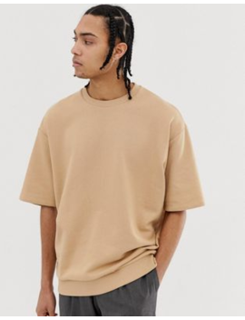 Asos Design – Kurzärmliges Oversize Sweatshirt In Beige by Asos