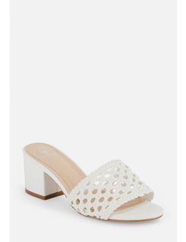 White Rafia Mid Heel Mules by Missguided