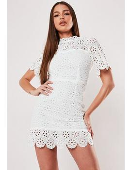 White Broderie Lace Open Back Mini Dress by Missguided