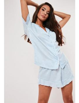 Blue Satin Contrast Piping Pyjama Set by Missguided