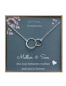 Efytal Mother Son Necklace, Sterling Silver Two Interlocking Infinity Circles,Mothers Day Jewelry Birthday Gift by Efytal