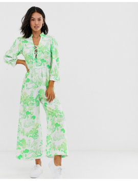 Asos Design Lace Up Front Blouson Sleeve Jumpsuit In Print by Asos Design