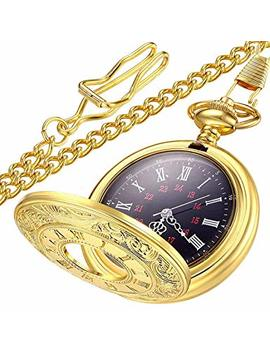 Lymfhch Vintage Roman Numerals Quartz Pocket Watch, Men Womens Watch With Chain As Xmas Fathers Day Gift by Lymfhch
