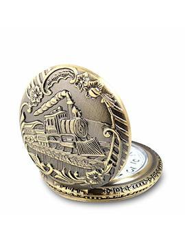 Train Copper Dangle Pendant Quartz Pocket Watch by Alienwolf