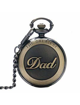 Switch Me Retro Quartz Pocket Watch Japan Movement With Belt Clip Chain For Dad by Switch Me