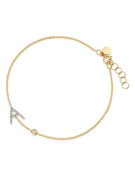 14 K Yellow Gold Diamond Initial & Bezel Bracelet by Zoe Lev