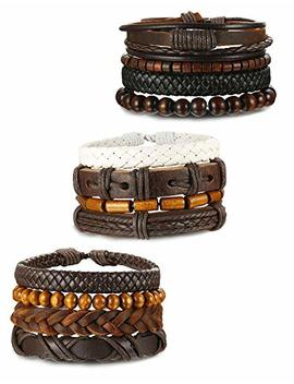 Orazio 4 12 Pcs Wooden Beaded Bracelet Leather Braided Bangle For Men And Women Elastic 5 8 Mm Beads by Orazio