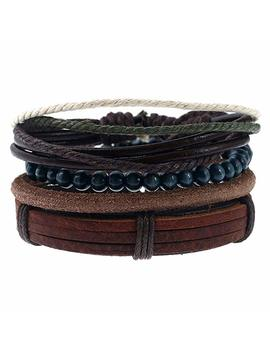 Sendio Men's Fashion Leather Bracelet Punk Bracelet Wood Beads Rope Bracelets Accessories Jewelry by Sendio