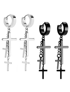 Jewelrie Shop Cross Tassel Stainless Steel Urban Huggie Hinged Hoop Dangle Earrings by Jewelrie Shop