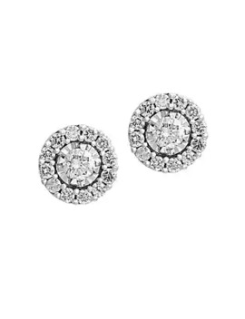 Pavé Classica Diamond And 14 K White Gold Earrings by Effy