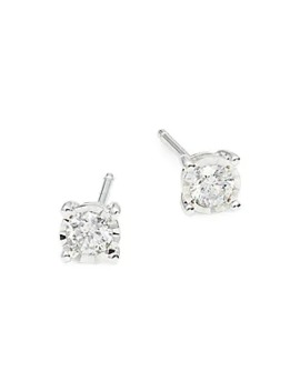 14 K White Gold Diamond Stud Earrings by Diana M Jewels
