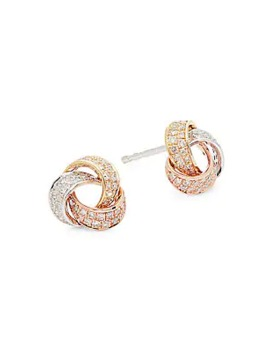 14 K Tri Tone Gold Diamond Knotted Stud Earrings by Effy