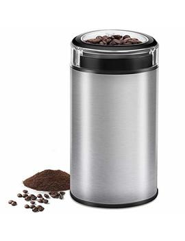 Electric Coffee Grinder Spice Grinder   Stainless Steel Blades Grinder For Coffee Bean Seed Nut Spice Herb Pepper, Brushed Stainless Steel Texture And Transparent Lid by Cusibox