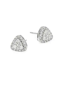 Diamond 14 K White Gold Bezel Stud Earrings by Effy