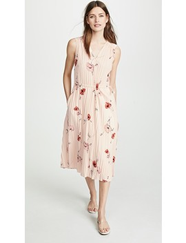 Tossed Poppy V Neck Pleated Dress by Vince