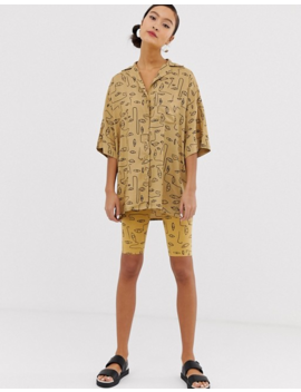 Monki Two Piece Face Print Oversized Blouse In Beige by Monki