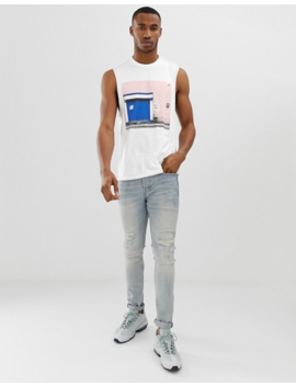 Asos Design Sleeveless T Shirt With Dropped Armhole With Photographic Print by Asos Design
